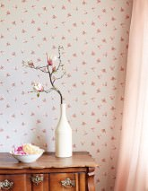Wallpaper Arletta Matt Blossoms Dots Cream Beige red Grey beige Light pink Red brown