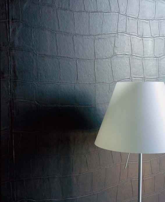 Faux Leather Wallpaper Wallpaper Croco 06 dark brown Room View