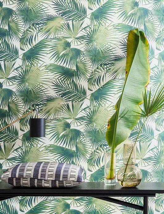Floral wallpaper Wallpaper Konda fir tree green Room View