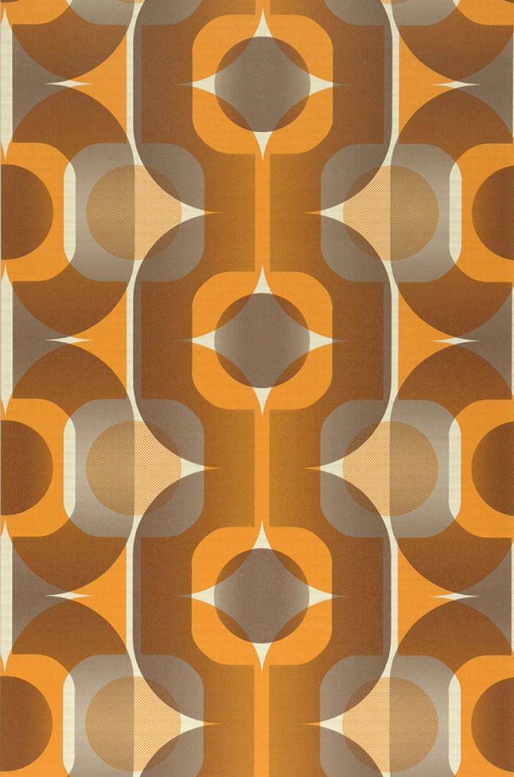 Sinon light ivory dark grey beige orange orange brown novelty wallpap - Papier peint vintage 50 ...