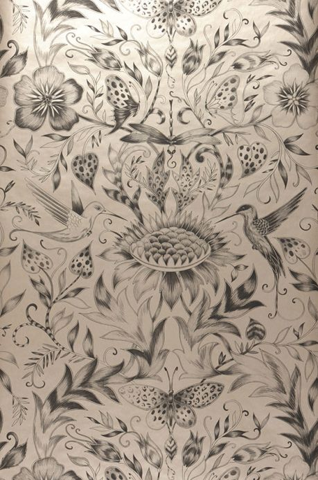Archiv Wallpaper Hina anthracite Roll Width