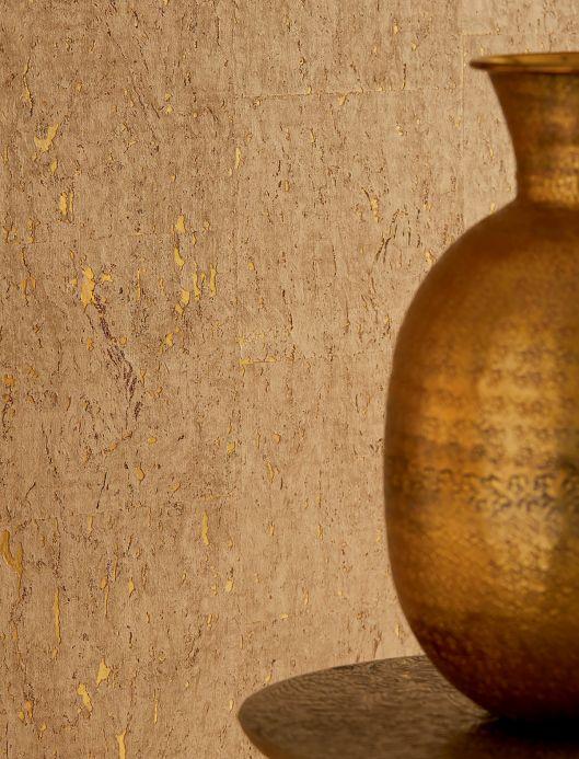 Luxury Wallpaper Wallpaper Cork on Roll 01 matt gold Room View