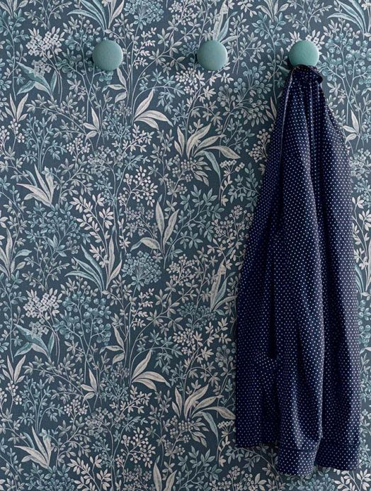 Floral wallpaper Wallpaper Pilar green blue Room View