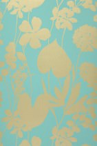 Wallpaper Jersey Matt Branches with leaves and blossoms Turquoise Pearl gold