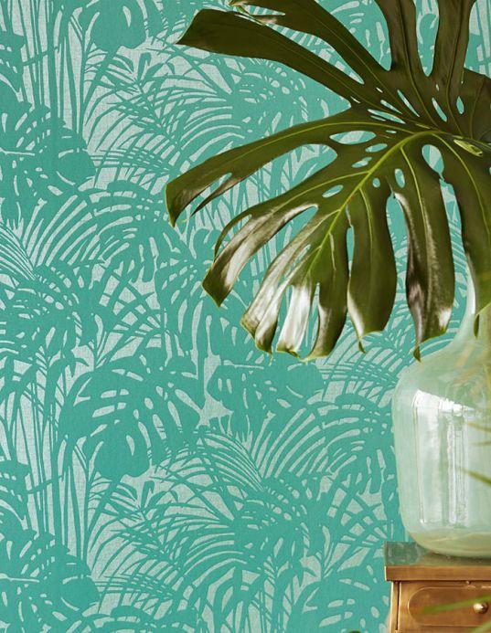 Papel pintado botánico Papel pintado Persephone verde turquesa Ver habitación