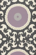 Papel pintado Aton Mate Elementos barrocos Círculos Blanco crema Violeta claro Gris negruzco Plata