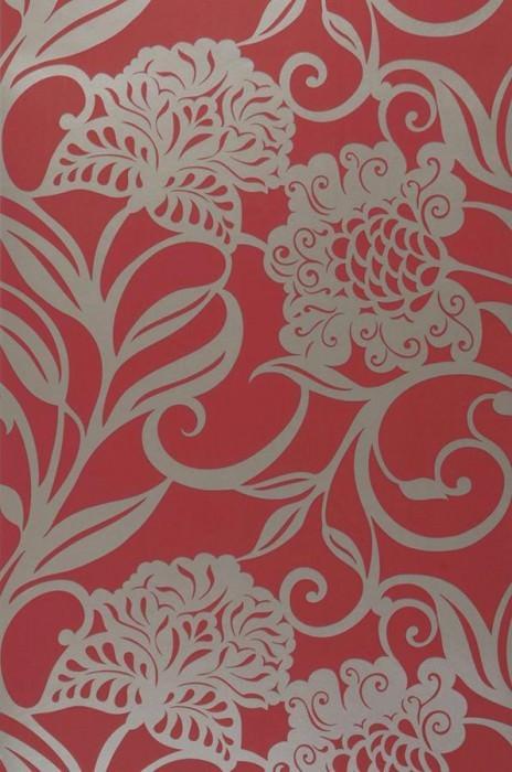 Wallpaper Koronis Shimmering pattern Matt base surface Stylised flowers Ruby red Gold