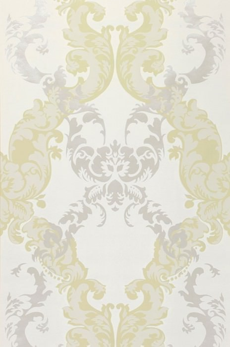 Wallpaper Siemara Shimmering pattern Matt base surface Baroque damask Cream Pale green Pale light grey Silver shimmer