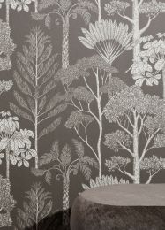Papel pintado Trees gris beige