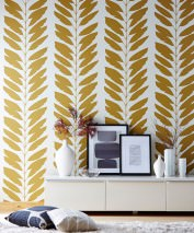 Wallpaper Koda Matt Leaf tendrils Cream Green brown