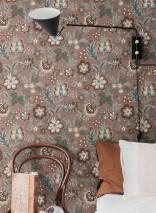 Papel pintado Judica Mate Hojas Flores Marrón Azul pálido Marrón grisáceo Marrón beige claro Marrón chocolate Azul turquesa