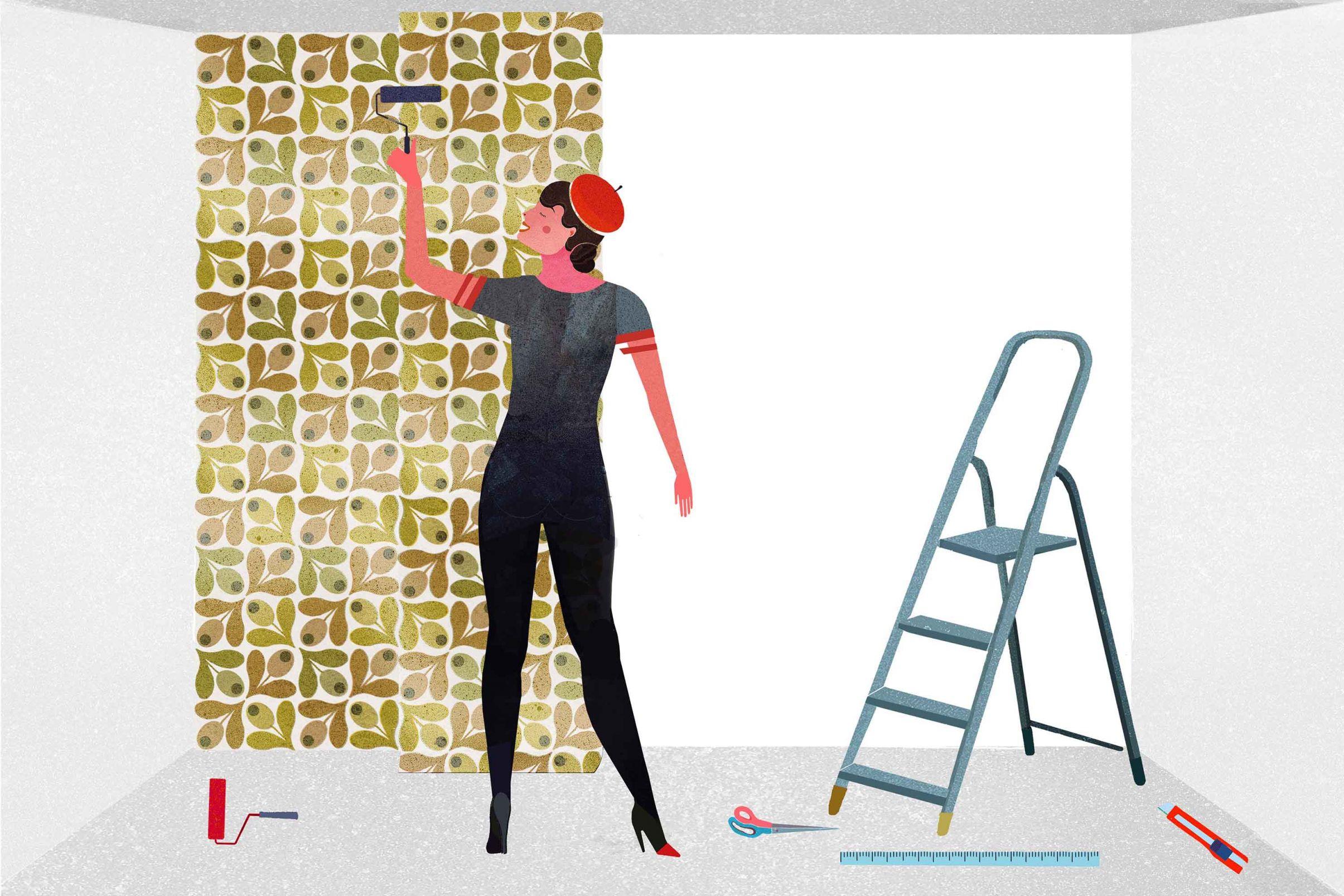 Como-colocar-papel-pintado-tejido-no-tejido-Presionar-el-papel-pintado-con-atencion-especial-a-las-juntas