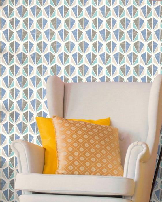 Wallpaper Reny Matt Retro elements Grey white Beige grey Brilliant blue Grey beige Pastel turquoise