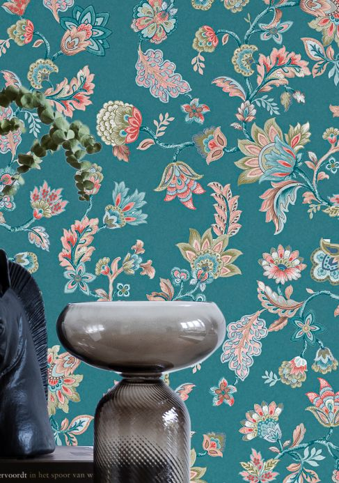 Floral Wallpaper Wallpaper Filippa turquoise blue Room View