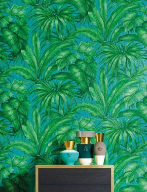 Papier peint Yasmin turquoise Vue pièce