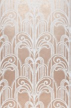 Wallpaper Emilia Matt pattern Shimmering base surface Art Deco Champagne Fountains Pearlescent beige-red  White