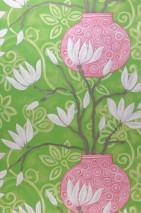 Papel pintado Habita Mate Flores Elementos florales Jarrones Verde amarillento Beige verdoso Crema brillante Violeta érica Marrón grisáceo Violeta pastel