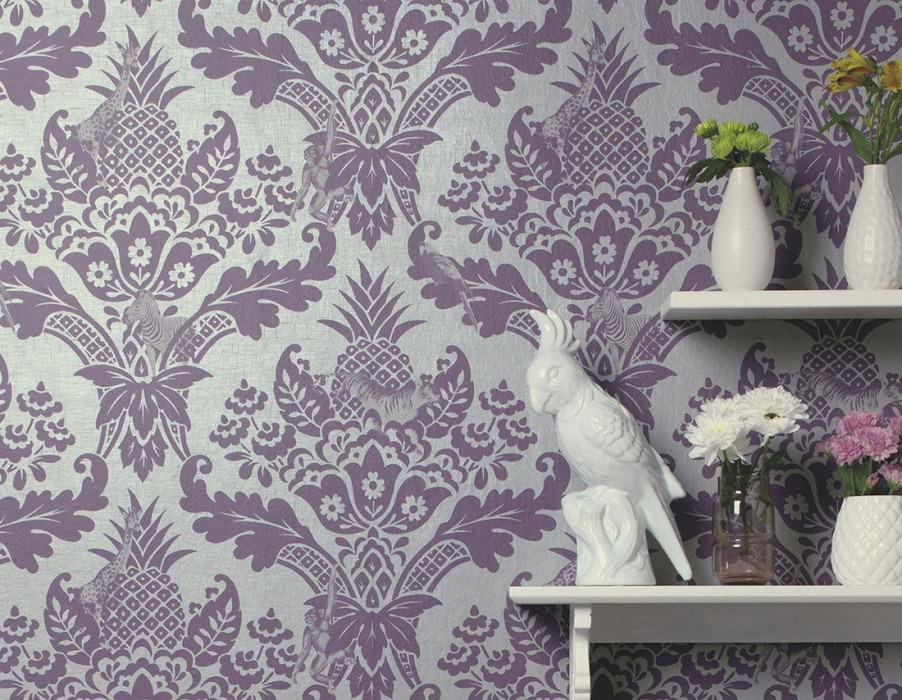 Wallpaper Merino Matt pattern Shimmering base surface Pineapple Floral damask Giraffes Parrots Zebra Pearl light grey Dark violet