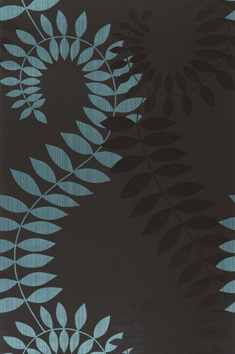Wallpaper Amphion Shimmering pattern Matt base surface Leaves Stylised tendrils Anthracite Black Turquoise