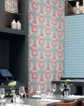Wallpaper Tereza Matt Retro design Stylised flowers Grey brown Beige grey Pale beige grey Heather violet Orange red White