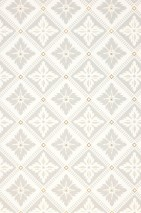 Wallpaper Garnivera Matt Rhombuses Stylised blossoms Cream Light grey Pearl gold