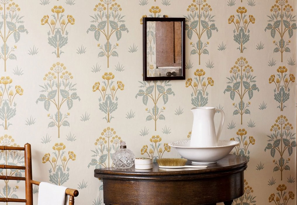 Wallpaper Hemera Matt Leaves Flowers Cream Brown beige Mint turquoise Olive yellow Sand yellow