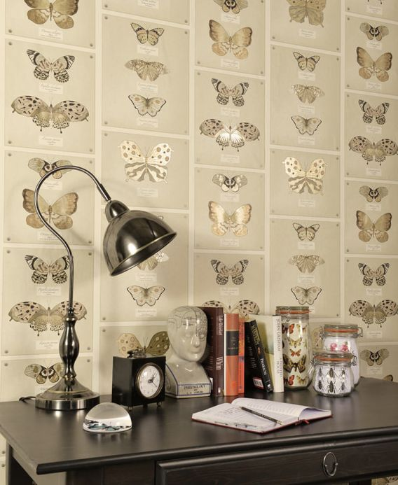 Archiv Wallpaper Farfalla light brown beige Room View