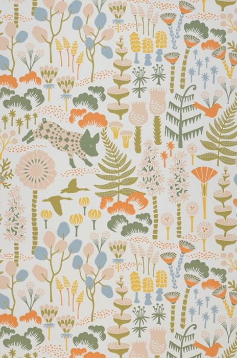 Wallpaper Eurissa Hand printed look Matt Leaves Flowers Animals Cream Beige red Curry yellow Olive green Orange Pastel blue