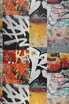 Wallpaper Berlin Graffiti Matt Graffiti Yellow Light grey Red Black Turquoise