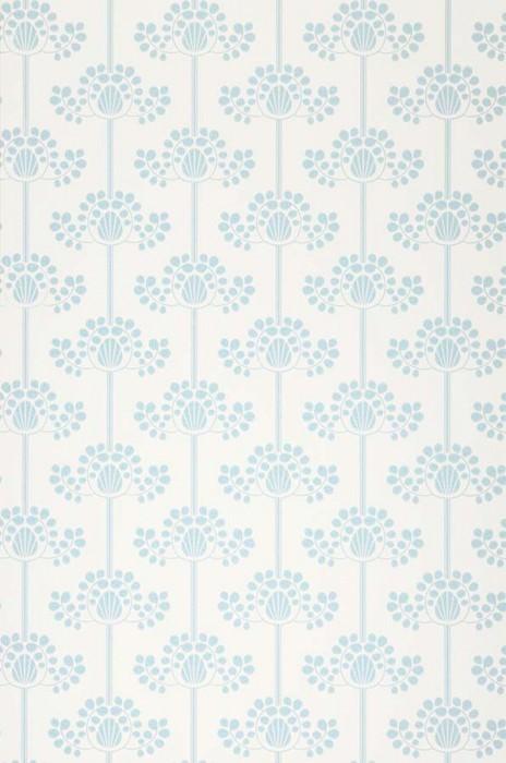 Wallpaper Valerie Matt Stylised flowers White Pastel blue