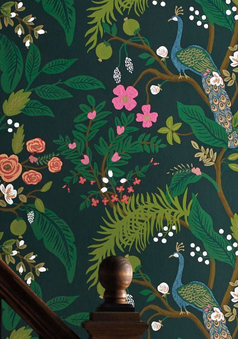 New arrivals! Wallpaper Peacock Tree dark green Room View