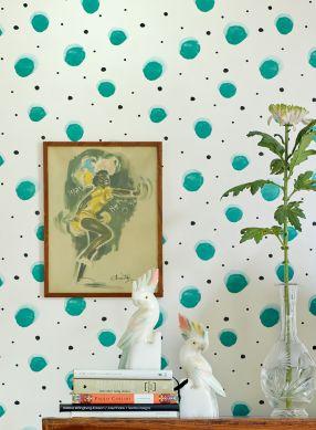 Papier peint Pia vert turquoise Vue pièce