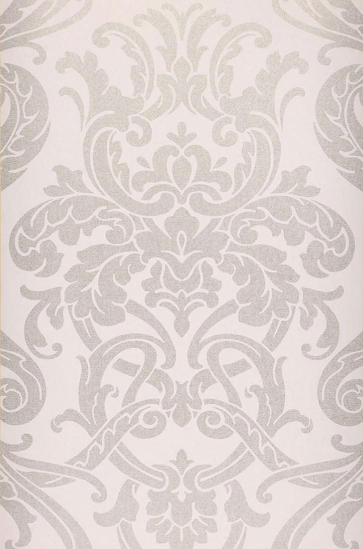 Maradila blanco gris ceo plata mate papel pintado - Papel pintado barroco ...