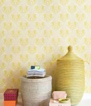 Wallpaper Estelle Hand printed look Matt Floral Elements Birds Pale yellow Cream Light pink