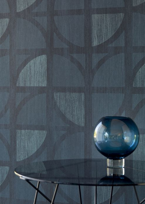 Geometric Wallpaper Wallpaper Salima grey blue Room View