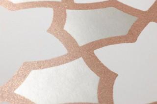 Papier peint Tiberius Mat Petits ornements Beige nacré Blanc crème Cuivre pailleté