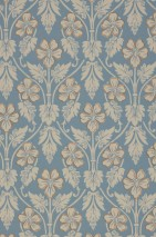 Papel pintado Evolet Mate Damasco floral Azul luminoso Gris sílex Marrón ocre