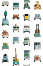 Wallpaper Work Vehicles Matt Vintage Construction Vehicles  White Pale orange Oyster white Rosewood Turquoise