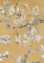 Vangogh blossom ockergelb anthrazit cremeweiss grau - Meisterwerk tapeten ...