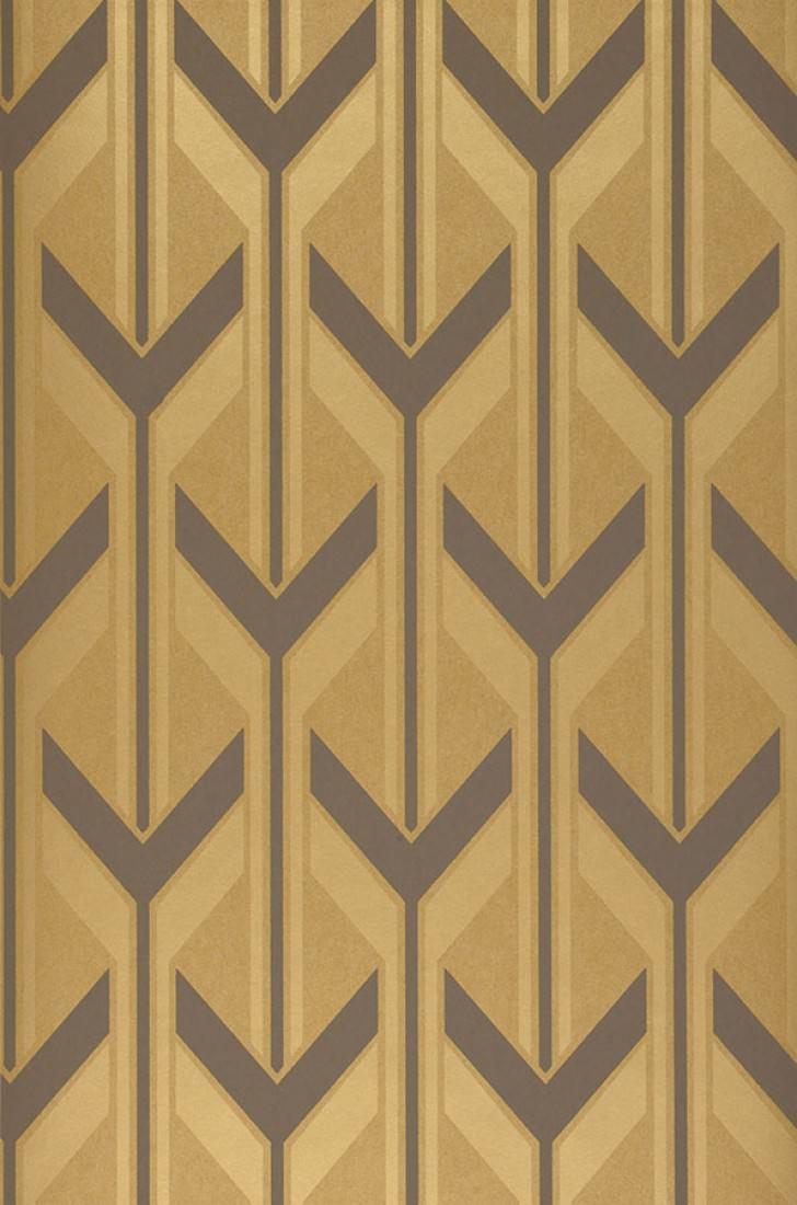 Papel pintado michabo amarillo ocre oro marr n gris ceo - Papeles pintados de los 70 ...