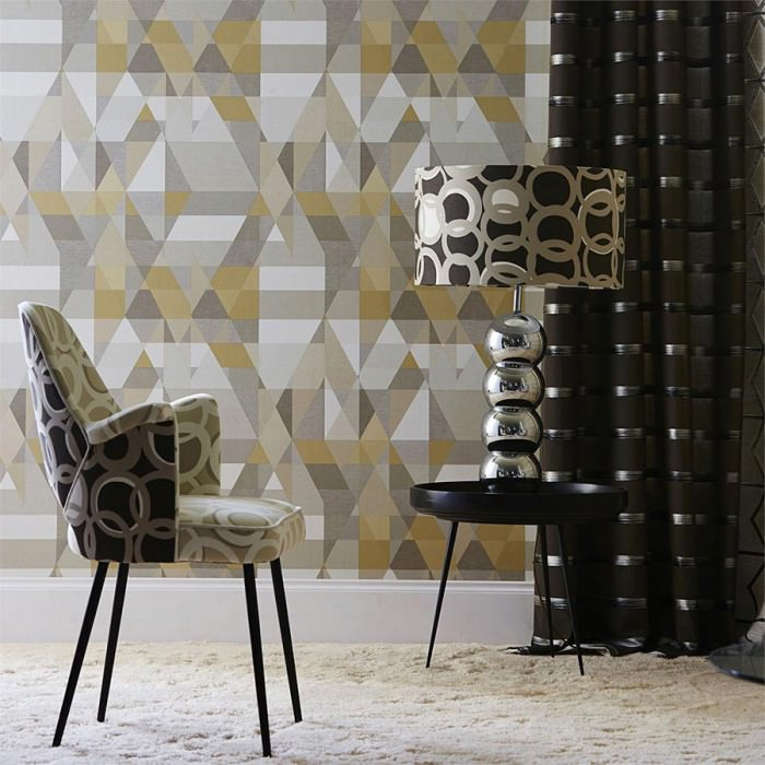 Wallpaper Zewana Matt Geometrical elements Beige Cream Grey Grey brown Light grey beige