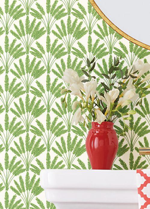 Papel pintado clásico Papel pintado Katada verde hoja Ver habitación