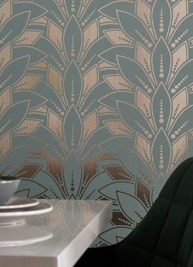 Papel pintado Fadila turquesa menta Ver habitación