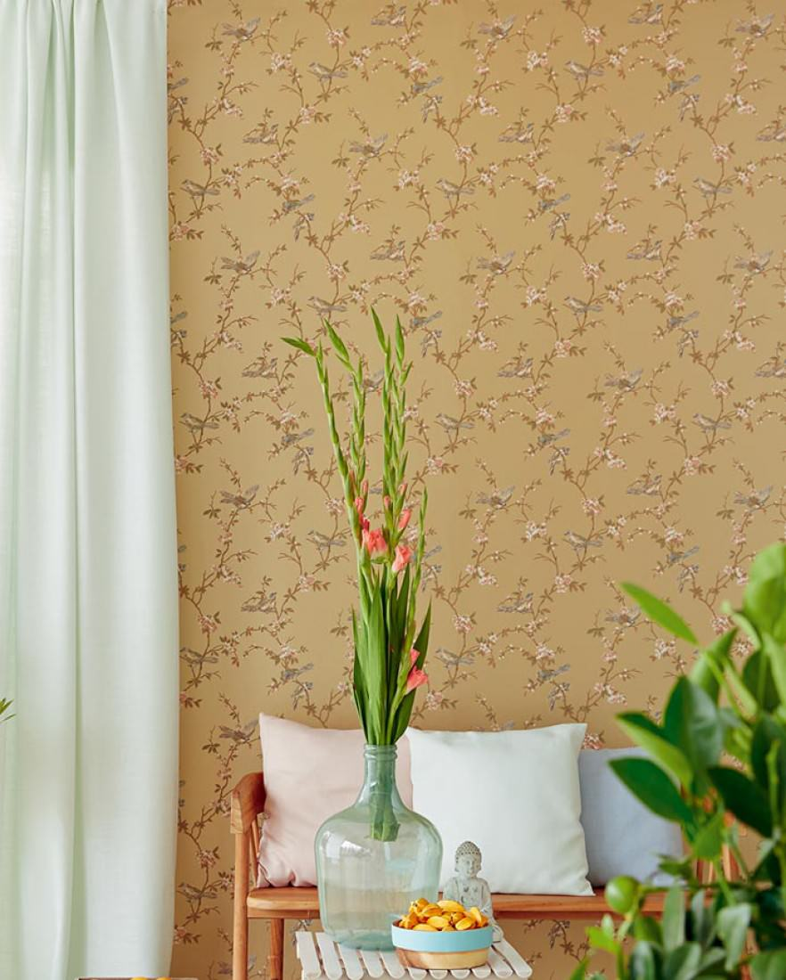 tapete thelma perlgold blaugr n braunbeige lachsorange schilfgr n tapeten der 70er. Black Bedroom Furniture Sets. Home Design Ideas