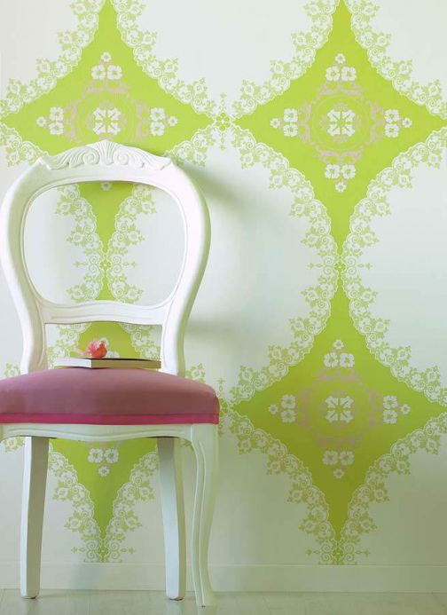 Archiv Wallpaper Selket yellow green lustre Room View