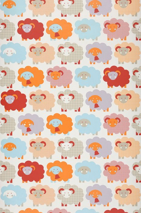 Wallpaper Marketa Matt Sheep Cream Dark red Grey beige Light blue Light pastel violet Orange