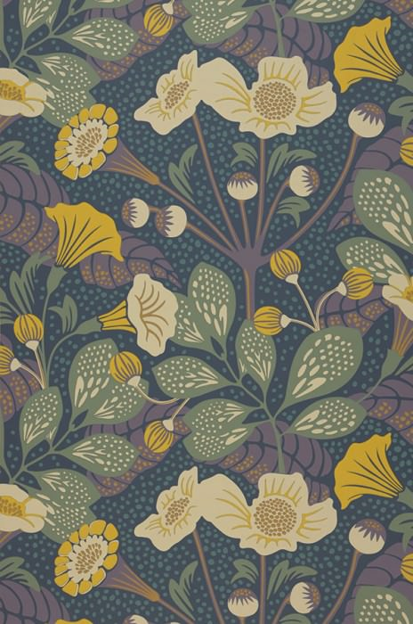 Wallpaper Ancasi Hand printed look Matt Leaves Blossoms Grey blue Pale green Yellow Light ivory Red purple