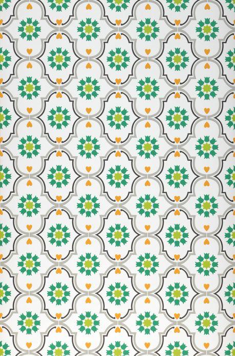 Papel pintado vintage Papel pintado Efigenia verde Ancho rollo