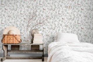 Wallpaper Operla Matt Birds Branches with leaves White Beige Pale blue Grey brown Pine green