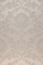 Wallpaper Clarise Matt Baroque damask Light grey beige Beige grey Cream